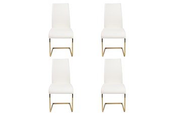 White Vegan Leather And Brushed Gold Cantilever Side Chair-Set Of 4