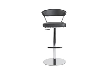 Black Faux Leather And Chrome Curved Back 30 Inch Adjustable Swivel Stool