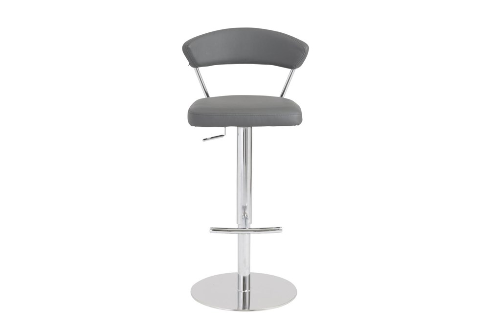 Grey Vegan Leather And Chrome Curved Back 30 Inch Adjustable Swivel Stool