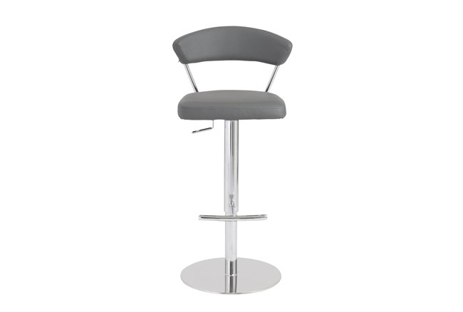 Grey Vegan Leather And Chrome Curved Back 30 Inch Adjustable Swivel Stool - 360