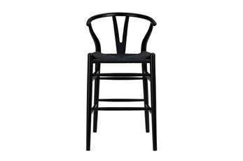 "Black Wishbone 26"" Counterstool With Black Seat"