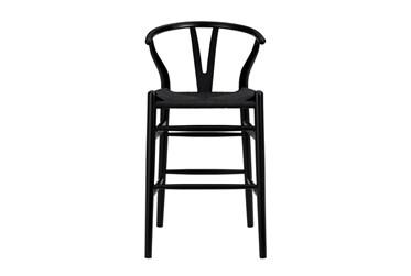 "Black Wishbone 26"" Counterstool With Black Seat"