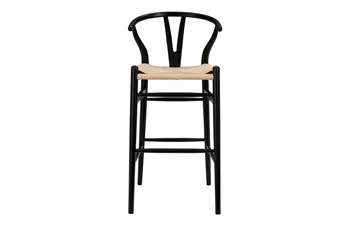 "Black Wishbone 30"" Barstool With Natural Seat"