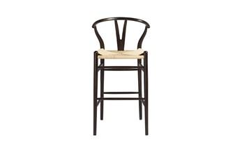 "Walnut Wishbone 30"" Barstool With Natural Seat"