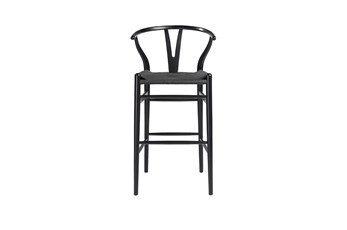 "Black Wishbone 30"" Barstool With Black Seat"