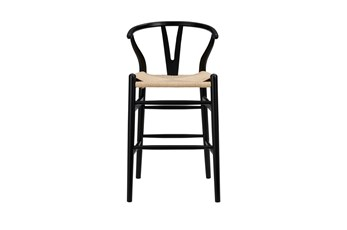 "Black Wishbone 26"" Counterstool With Natural Seat"