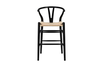 """Black Wishbone 26"""" Counterstool With Natural Seat"""