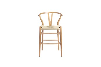 """Natural Wishbone 26"""" Counterstool With Natural Seat"""