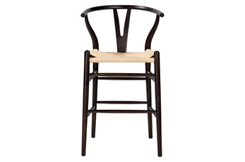 "Walnut Wishbone 26"" Counterstool With Natural Seat"