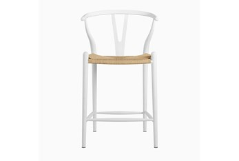 """White Wishbone 26"""" Counterstool With Natural Seat"""