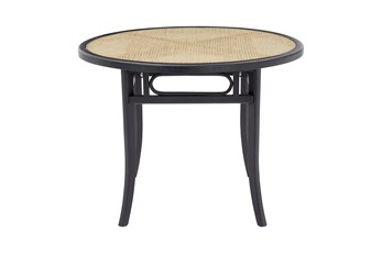 Cafe Black 40 Inch Round Dining Table With Natural Cane