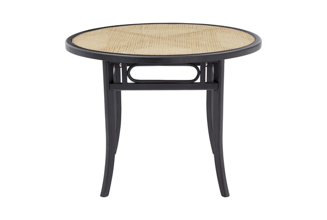 Cafe Black 40 Inch Round Dining Table With Natural Cane - 360