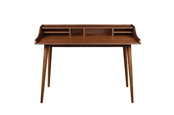 La Palma Walnut 47 Inch Desk With Storage Shelf
