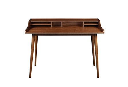 La Palma Walnut 47 Inch Desk With Storage Shelf - Main