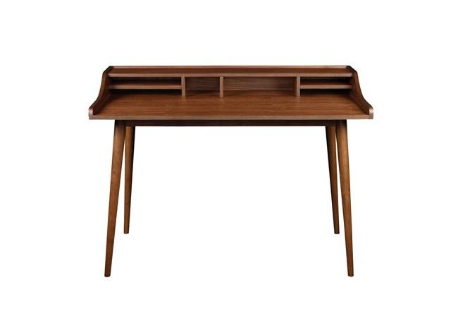 La Palma Walnut 47 Inch Desk With Storage Shelf - 360