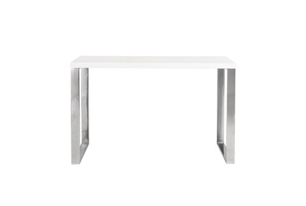 Del Mar White 47 Inch Desk With Polished Stainless Steel Base - Main