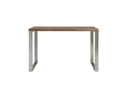 Del Mar Walnut 47 Inch Desk With Brushed Stainless Steel Base - Main
