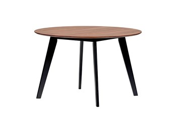 Mojave 47 Inch Round Dining Table With Walnut Top And Black Legs