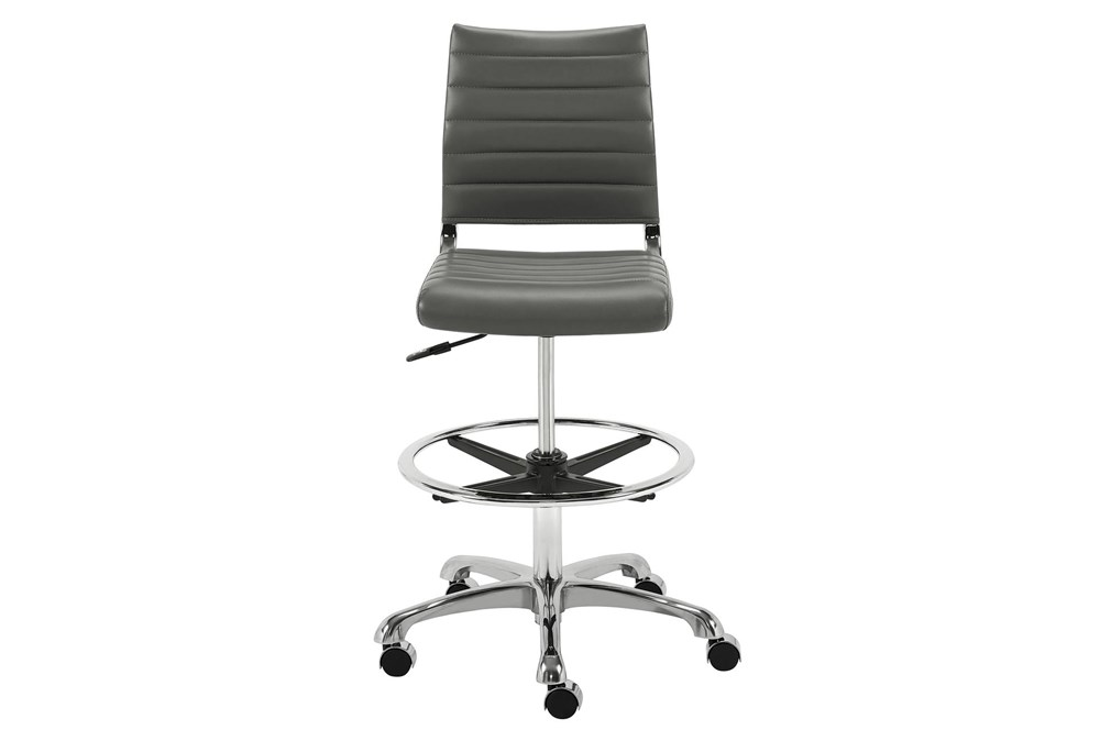 Kolding Grey Faux Leather 27 Inch Adjustable Swivel Drafting Stool With Casters