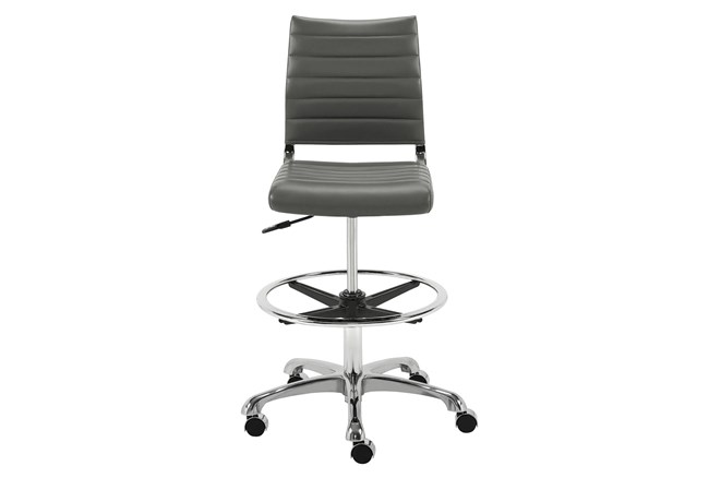 Kolding Grey Faux Leather 27 Inch Adjustable Swivel Drafting Stool With Casters - 360