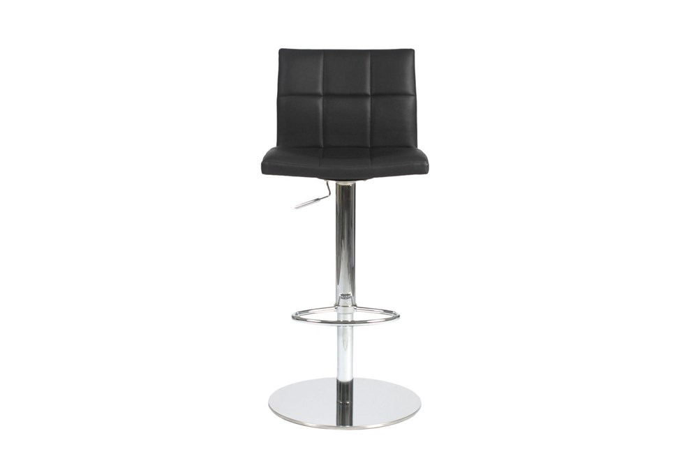 Black Faux Leather And Chrome 30 Inch Adjustable Swivel Stool