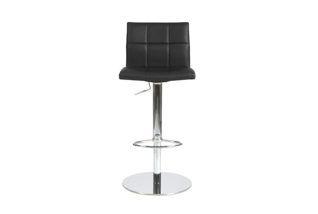 Black Faux Leather And Chrome 30 Inch Adjustable Swivel Stool - 360