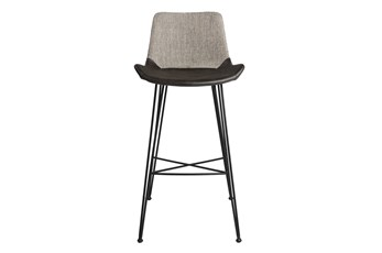 "Mixed Material 30"" Barstool In  Light Grey"