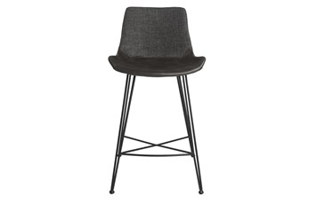 "Mixed Material 26"" Counterstool In Dark Grey"