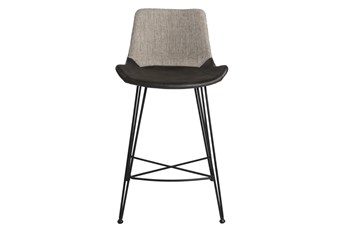 "Mixed Material 26"" Counterstool In Light Grey"