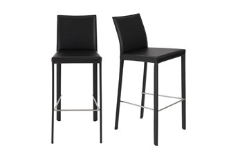 "Parson Black Leather-Like Upholstered 30"" Barstool-Set Of 2"