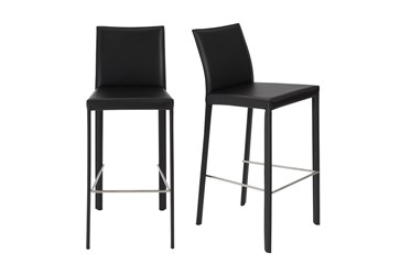 Parson Black Faux Leather Upholstered 30 Inch Barstool-Set Of 2