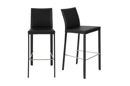 Parson Black Leather-Like Upholstered 30