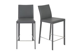 "Parson Grey Leather-Like Upholstered 26"" Counterstool-Set Of 2"