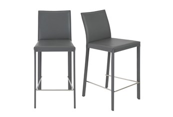 """Parson Grey Leather-Like Upholstered 26"""" Counterstool-Set Of 2"""