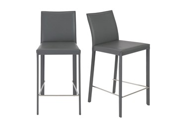 Parson Grey Faux Leather Upholstered 26 Inch Counterstool-Set Of 2