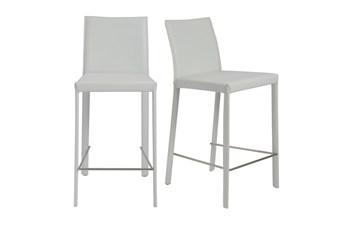 "Parson White Leather-Like Upholstered 26"" Counterstool-Set Of 2"