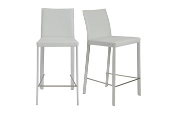 """Parson White Leather-Like Upholstered 26"""" Counterstool-Set Of 2"""
