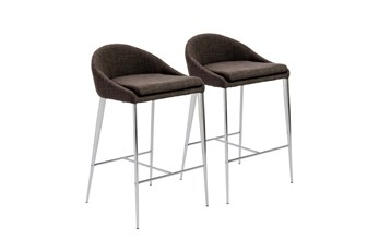 "Dark Grey And Chrome Curved Low Back 26"" Counterstool-Set Of 2"