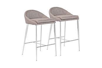 "Grey And Chrome Curved Low Back 26"" Counterstool-Set Of 2"