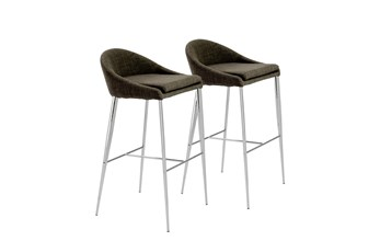 "Dark Grey And Chrome Curved Low Back 30"" Barstool-Set Of 2"