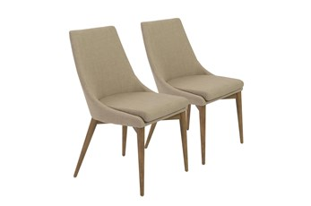 Tan Upholstered Side Chair With Walnut Legs-Set Of 2