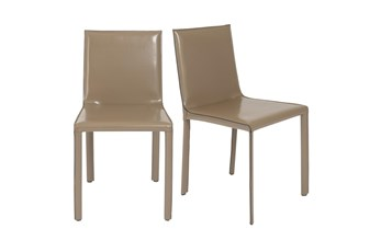 Straight Back Taupe High Gloss Leather-Like Upholstered Side Chair-Set Of 2
