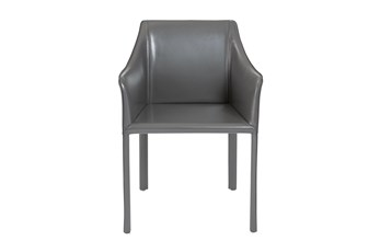 Straight Back Grey High Gloss Leather-Like Upholstered Arm Chair