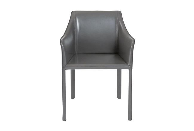 Straight Back Grey High Gloss Leather-Like Upholstered Arm Chair - 360