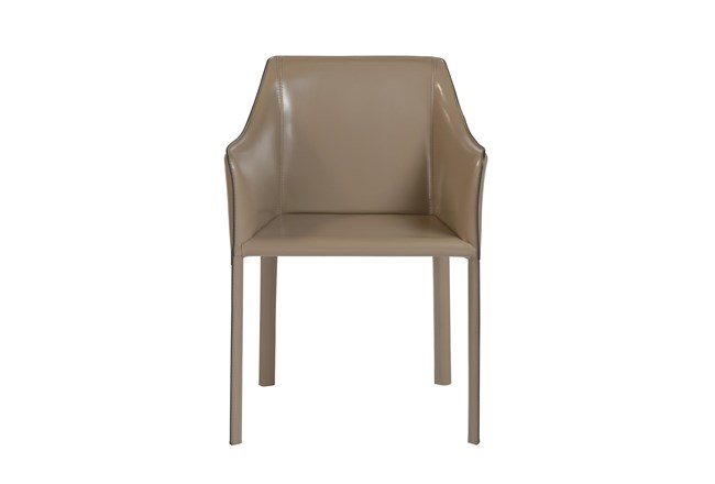 Straight Back Taupe High Gloss Leather-Like Upholstered Arm Chair - 360
