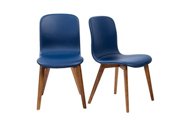 Blue Faux Leather And Walnut Side Chair With Contrast Stitching-Set Of 2