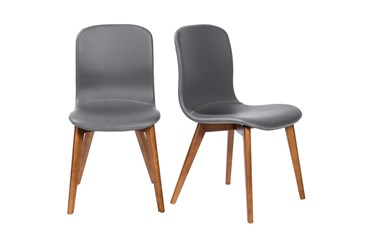 Grey Faux Leather And Walnut Side Chair With Contrast Stitching-Set Of 2
