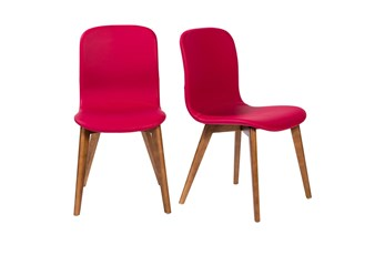 Red Vegan Leather And Walnut Side Chair With Contrast Stitching-Set Of 2