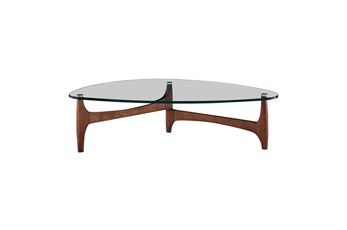 Stowe Glass 51 Inch Coffee Table With Walnut Base