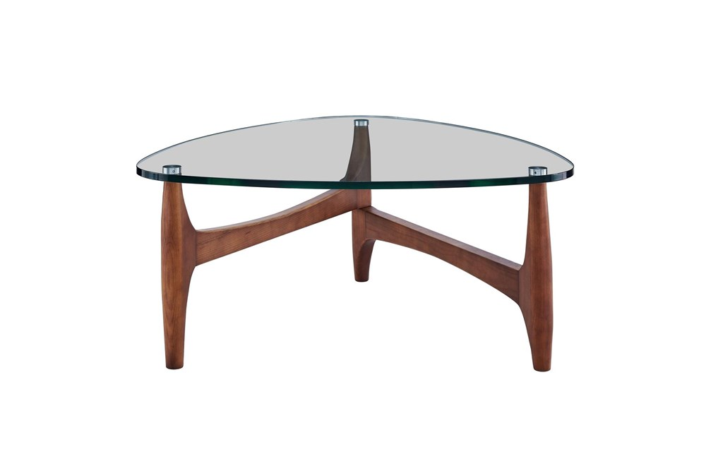Stowe Glass 35 Inch Coffee Table With Walnut Base